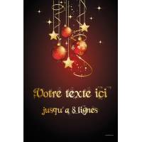 """Affiche personnalisable Noël boules et étoiles lettrage """"or"""" A3 en couleur (Quadrichromie) personnalisable"""